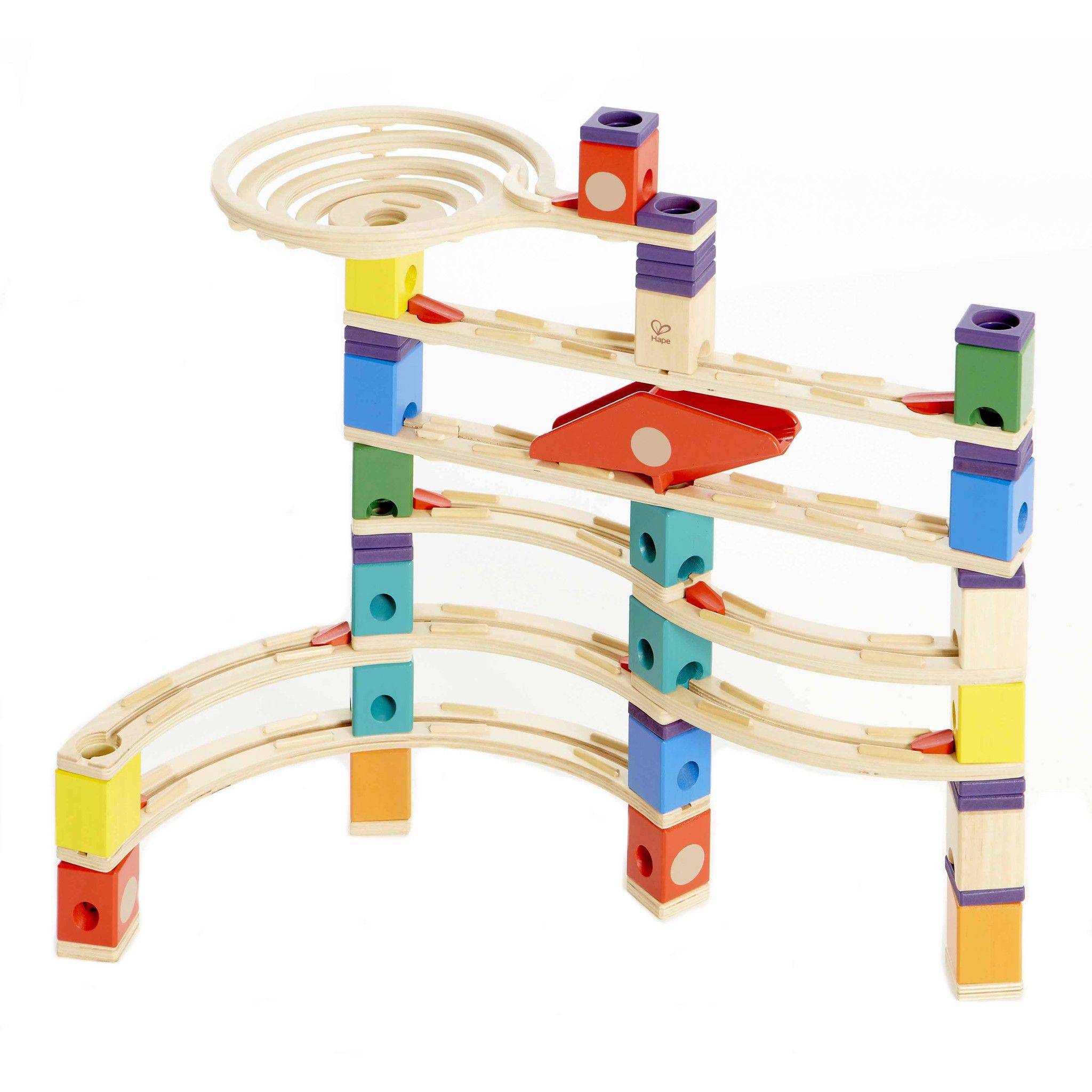 Explore a world of building with our Quadrilla Xcellerator Marble Run Set by Hape. The 136 pieces include a mix of spirals, straightaways, accelerators, a seesaw, and marbles. This set can be configur