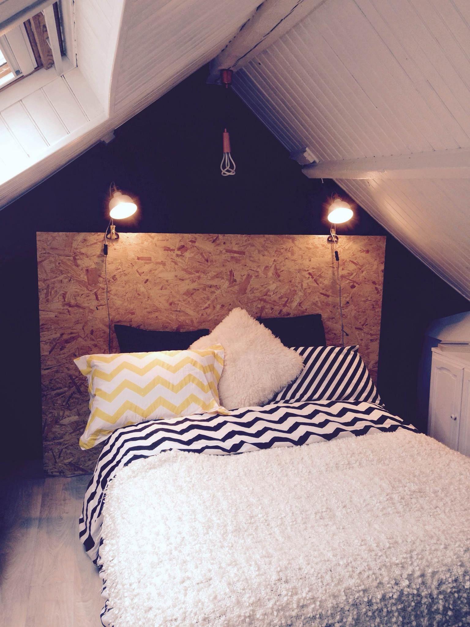 Chambre / Tête de lit / OSB / Combles http://www.cto-architecture