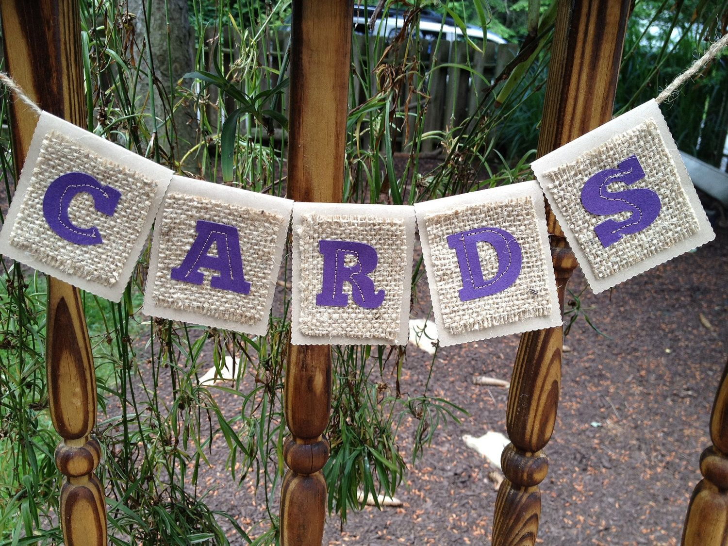 Wedding Cards or Gifts sign - Burlap, Cardstock, Sewn, Rustic, Shabby Chic, Vintage. $15.00, via Etsy.