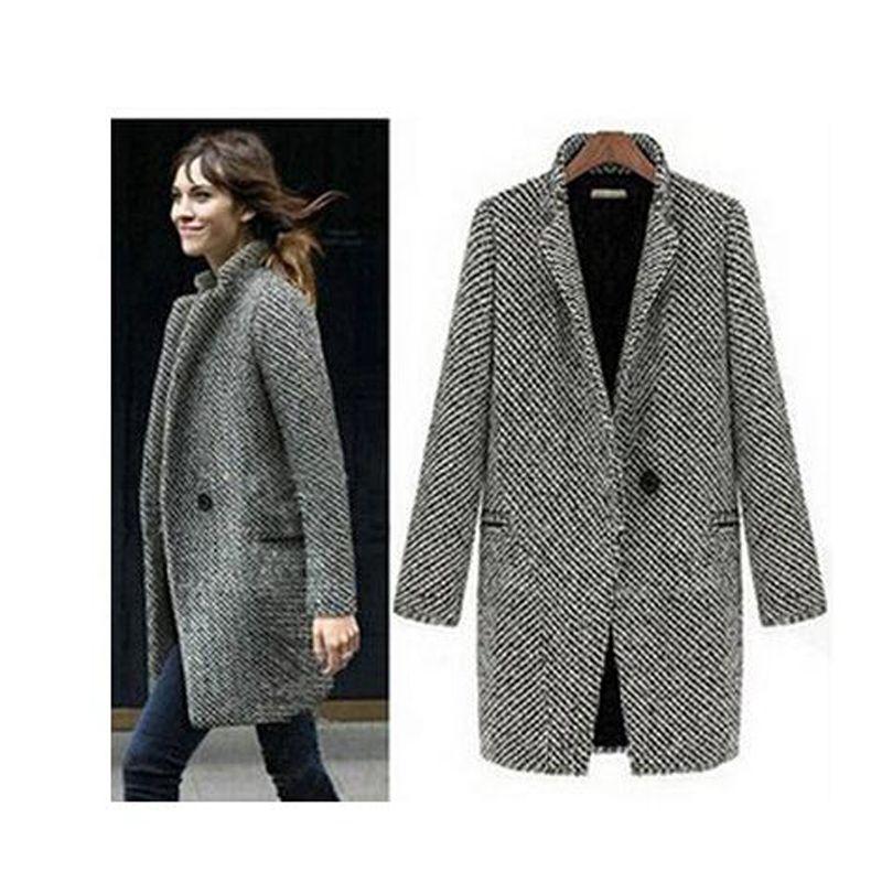 Gratis verzending elegante vrouwen winter wollen jassen plus size grijs warm katoen geul laides fluwelen dikke jas lange overjas