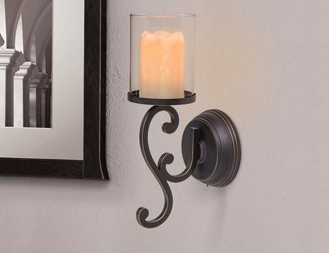 Candle Impressions Flameless Led Candle Wall Sconce Rubbed Bronze Swirl Design Candle Wall Sconces Candle Sconces Candle Impressions