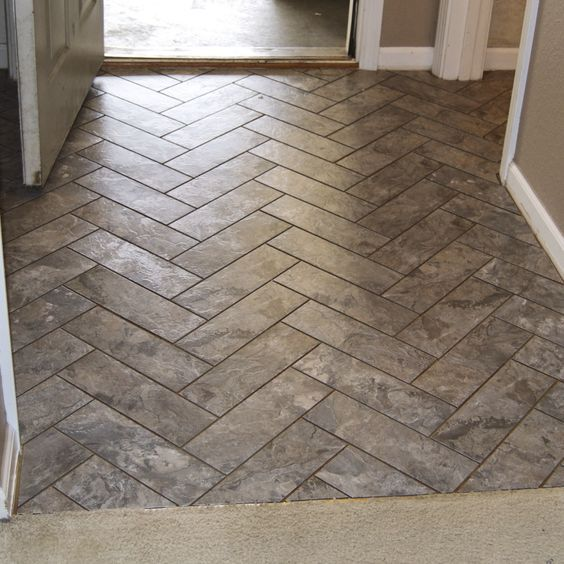 Herringbone Vinyl Tile Pattern Via Grace Gumption Peel And Stick Tile With Grout Finally A Great Peel And Stick Floor Stick On Tiles Vinyl Flooring Kitchen