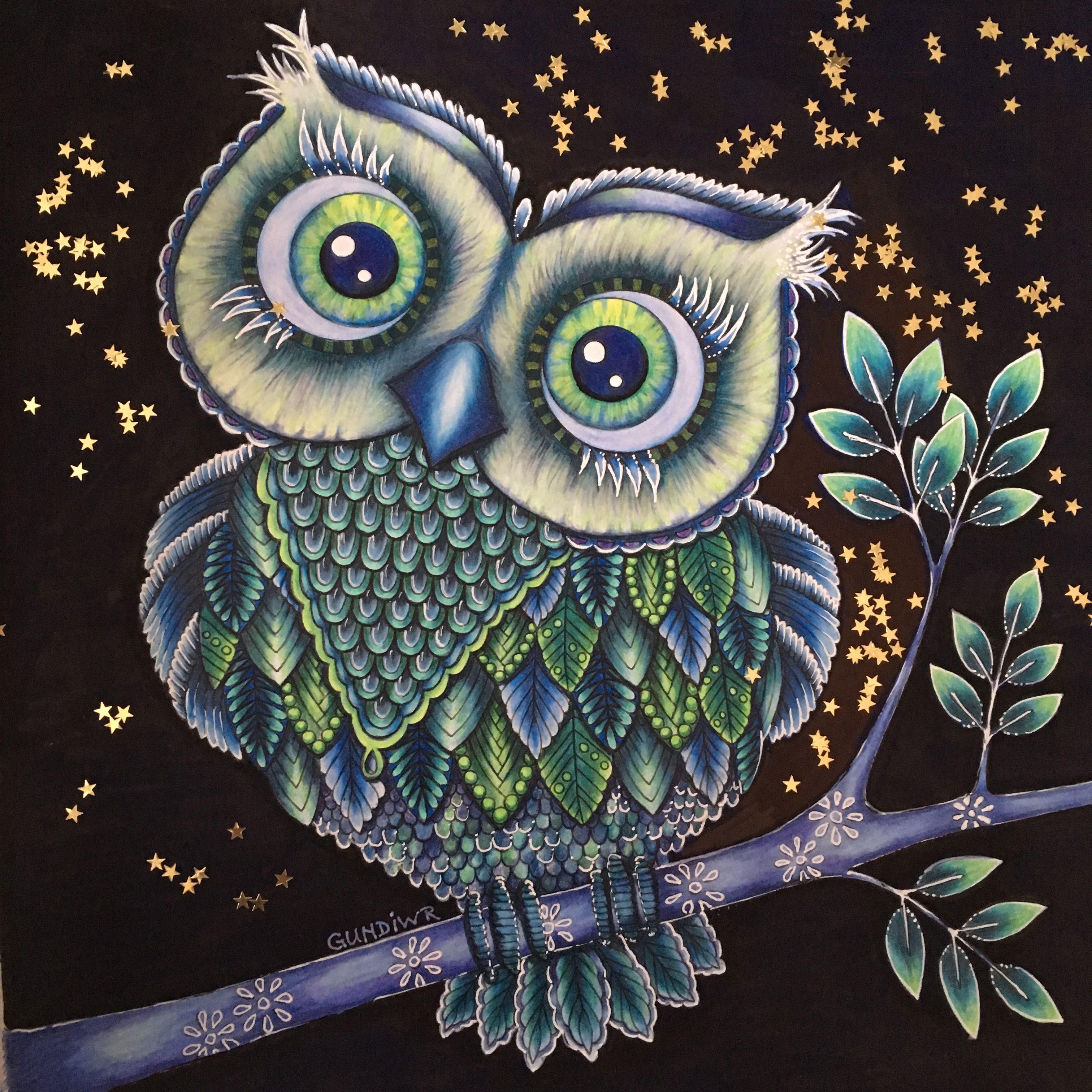 The Big Owl From Bland Ugglor Och Forgatmigej Tina Wallin Colored By Gundiwr Polychromos Eule