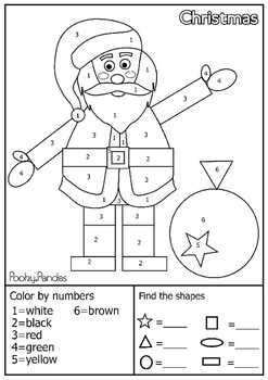 Christmas Shape Characters Shape Finding And Color By Number Christmas Pictures To Color Christmas Literacy Shapes Preschool