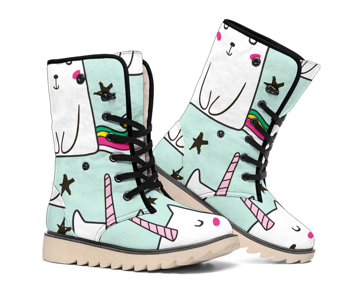 Cute Unicorn Cat Pattern Print Polar Boots