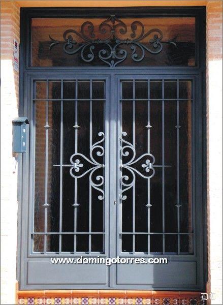 Resultado de imagen para portones de hierro forjado con vidrio rejas puertas de hierro - Rejas hierro forjado ...