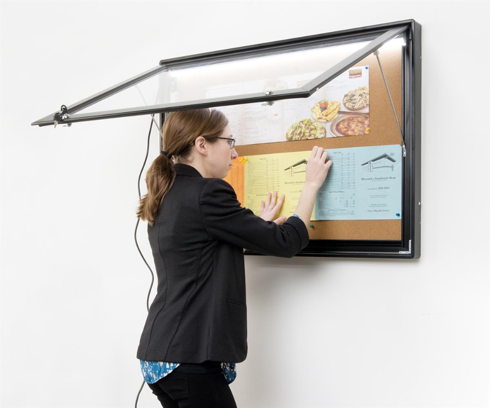 36 X 26 Enclosed Cork Board For Outdoors Illuminated With Locking Door Black Cork Board Menu Holders Outdoor Weather