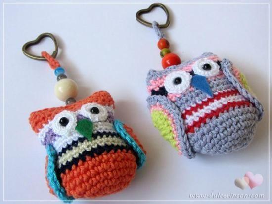 Amigurumis Pequeños Para Llaveros : Llaveros de crochet búho maníacos andrea