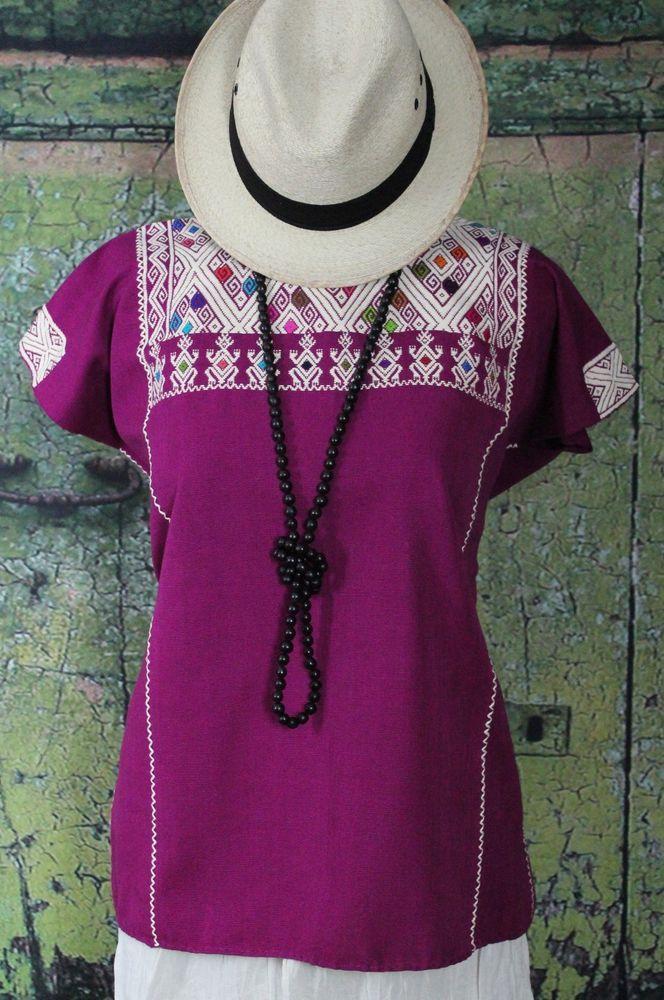 Magenta & Cream Huipil Larrainzar Chiapas Mexico, Hand Woven Mayan, Boho, Hippie #Handmade #Huipiltunic