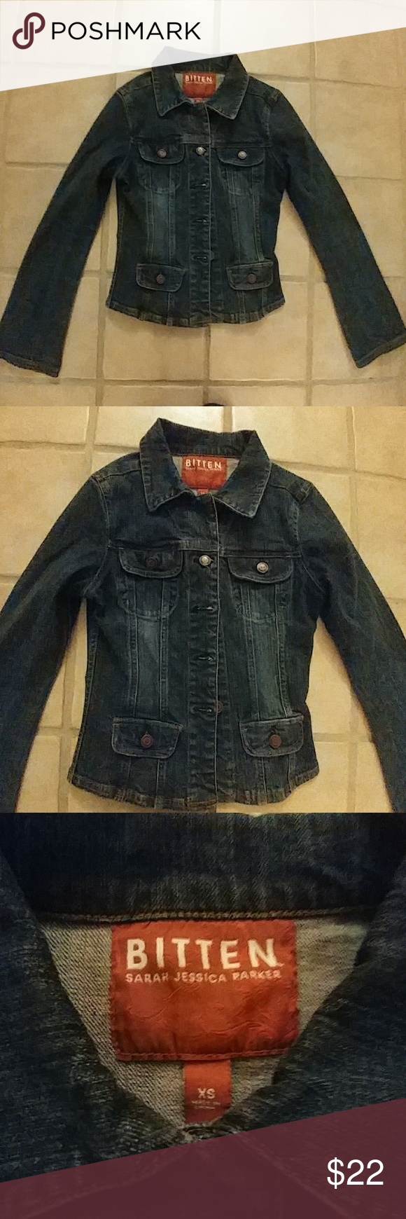 Sarah Jessica Parker Jean Jacket Bitten by SJP Denim Jacket. Broken In. Pre loved! Fitted. Cool Jacket! Jackets & Coats Jean Jackets