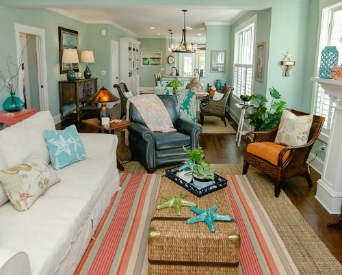 Colorful coastal cottage decor ideas http www for Ocean themed living room ideas