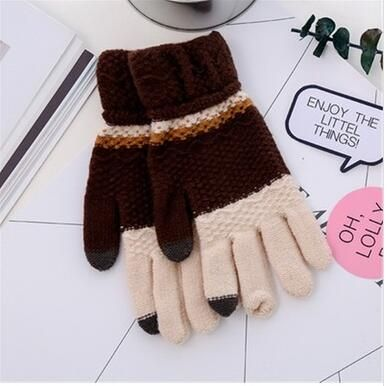 Cheapest Gloves New Arrival Winter Style for Touch Screen Separated Fingers Knitted Color Block Unisex Gloves Coffee