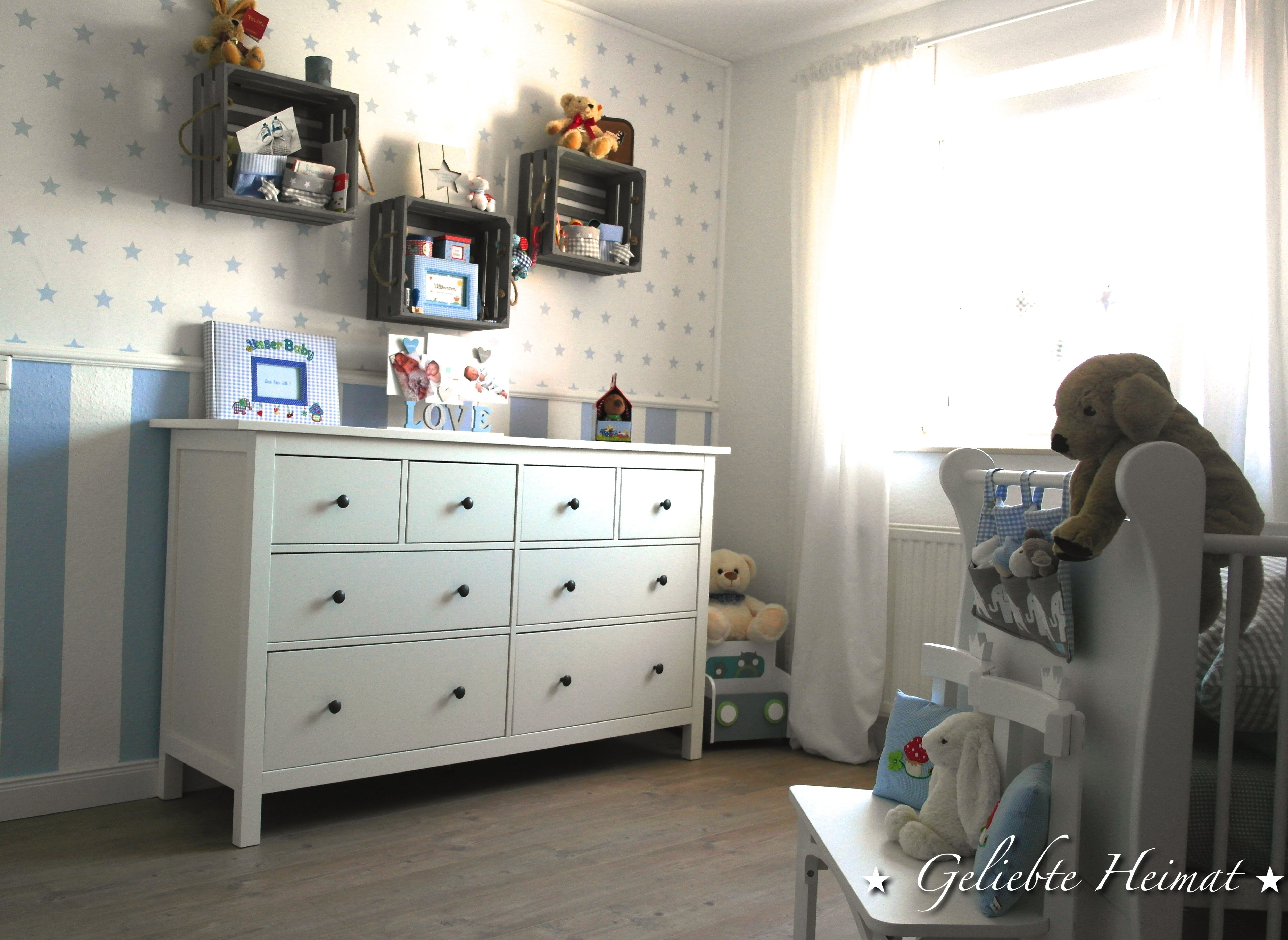 Kinderzimmer Babyzimmer Junge Ikea Hemnes Obstkisten Kommode Babyzimmer Blau Weiss Kinderzimmer Kinder Zimmer Zimmer