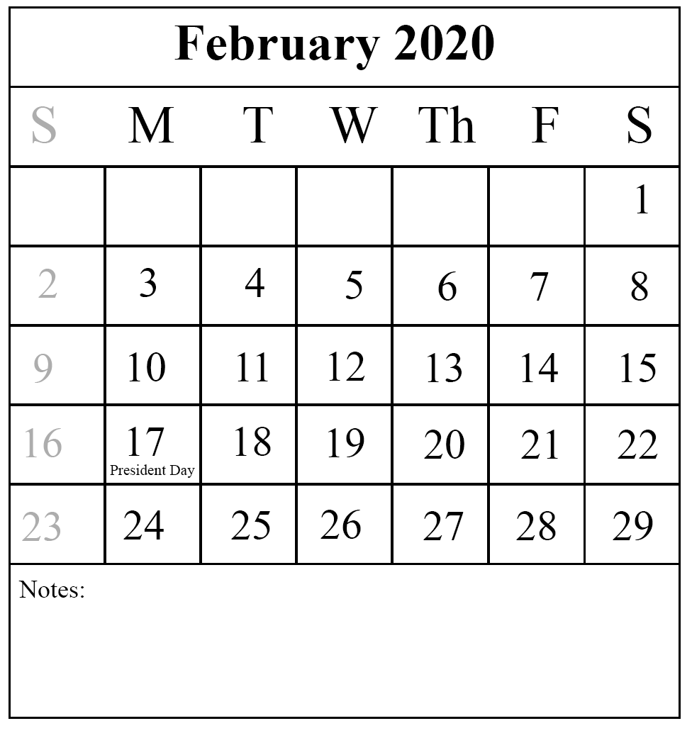 Lunar Calendar For February 2020 Fillable Printable Blank