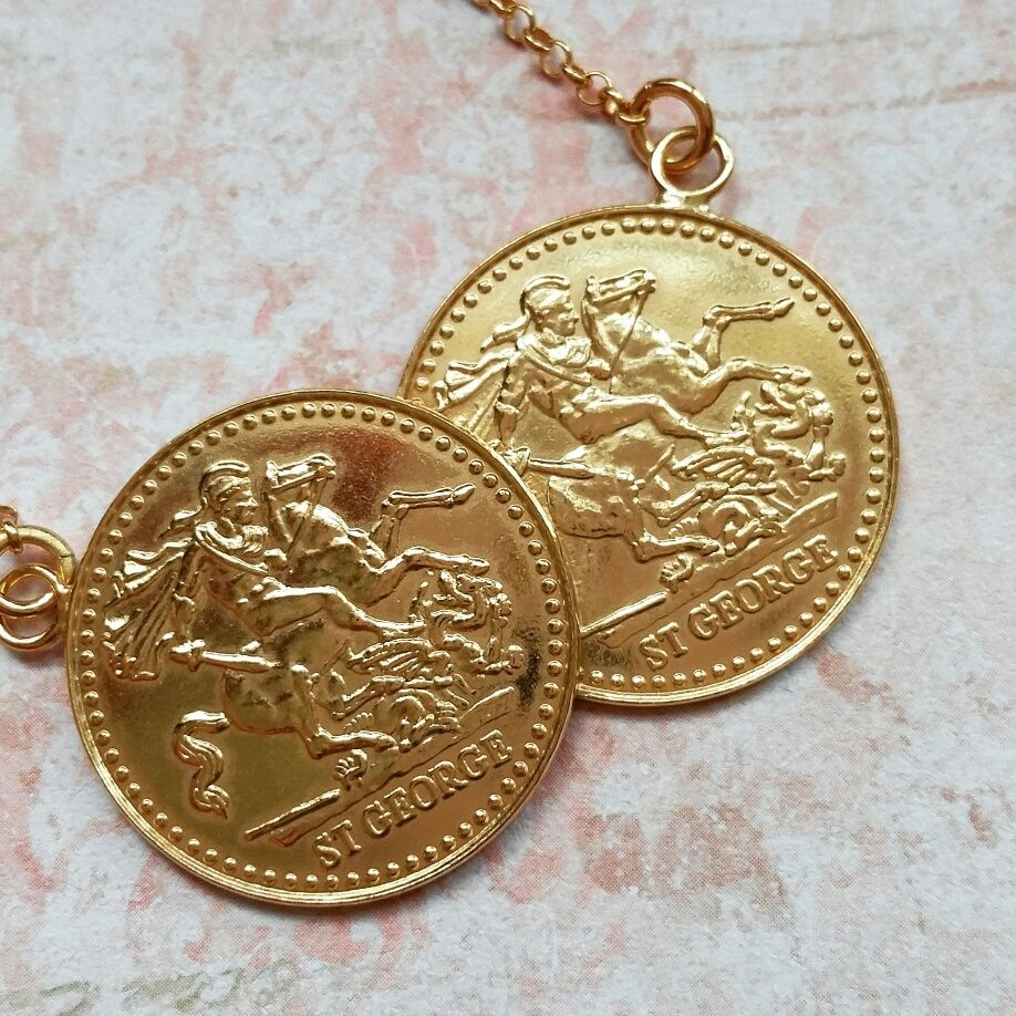 833de1129bb25 Statement yellow gold on sterling silver double St George sovereign ...