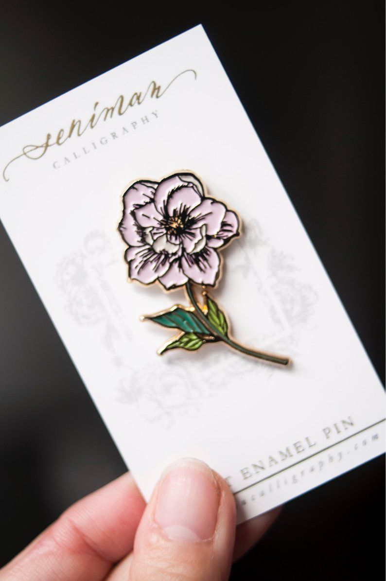 d3f0beff3c7 Pink Peony Soft Enamel Pin   Etsy Pink Peonies, Peony, Floral  Illustrations, Pin