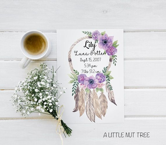 Birth Announcement Birth Print Birth Details Print Boho Stunning Dream Catcher Memoir