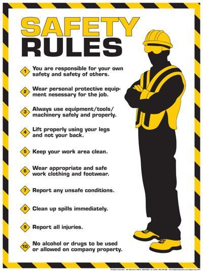 Workplace Safety Rules Poster Prit Pinterest