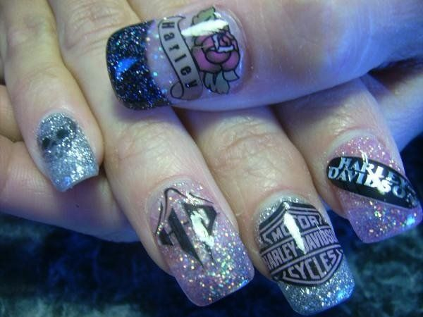 13 Ultra Cool Harley Davidson Nail Designs Pretty Designs Nail Designs Nails Hair And Nails