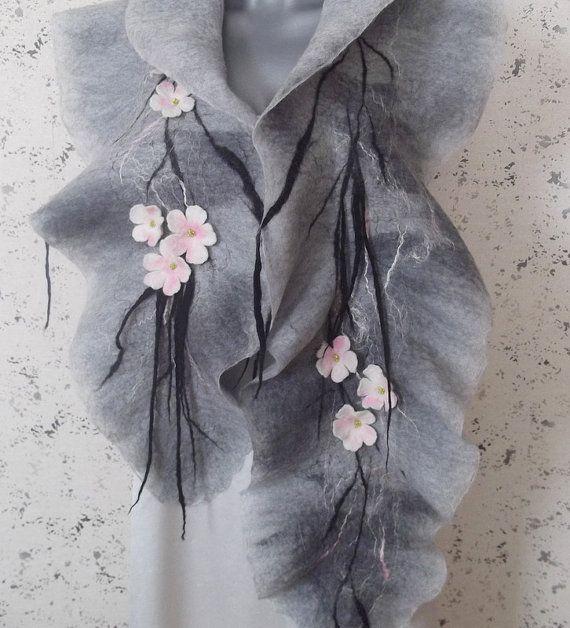 Merino wool scarf / blooming garden / shawl / / wrap ...