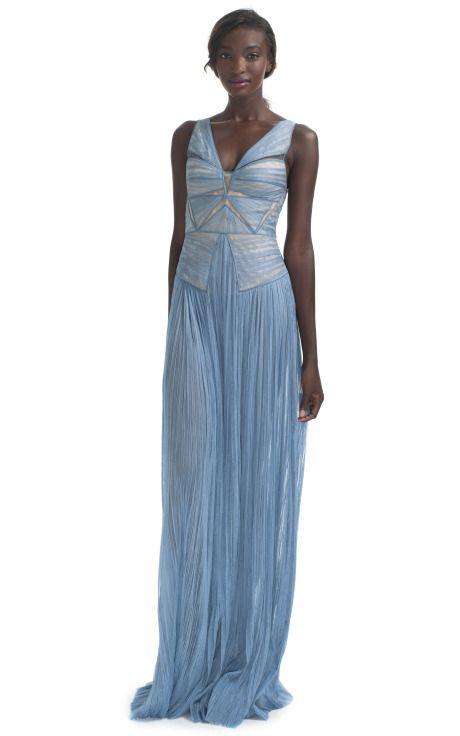 J.Mendel Chantilly Lace Evening Gown/Heron Blue Moda Operandi | It ...