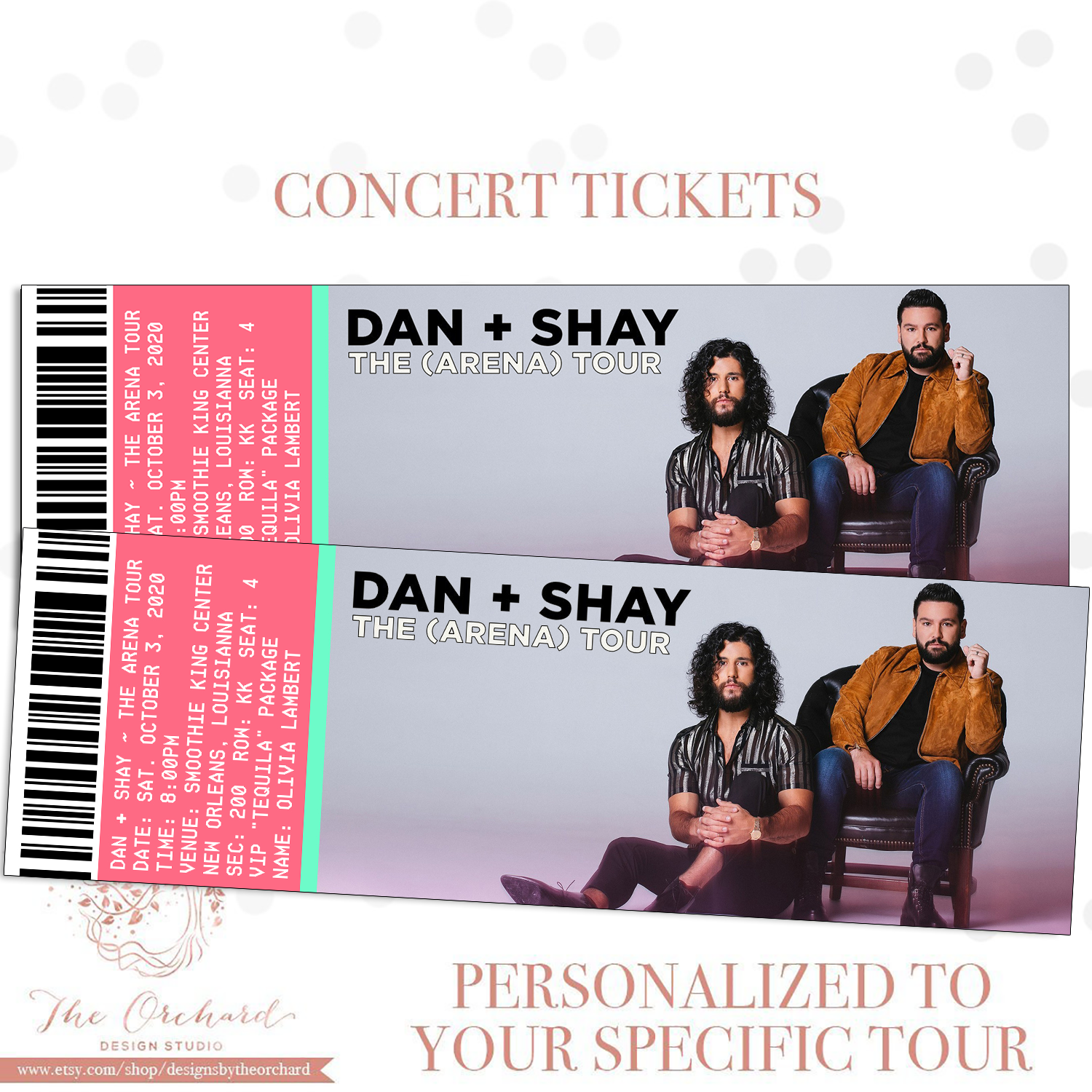 Custom Event Tickets You Self Print Sports Concert Music Etsy Dan Shay Concert Ticket Gift Concert Gift