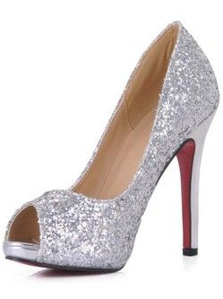 c5d7ccca3c63 Heel Height 2  Platform Silver Sequin Paillette Red Bottom Shoes Highheels