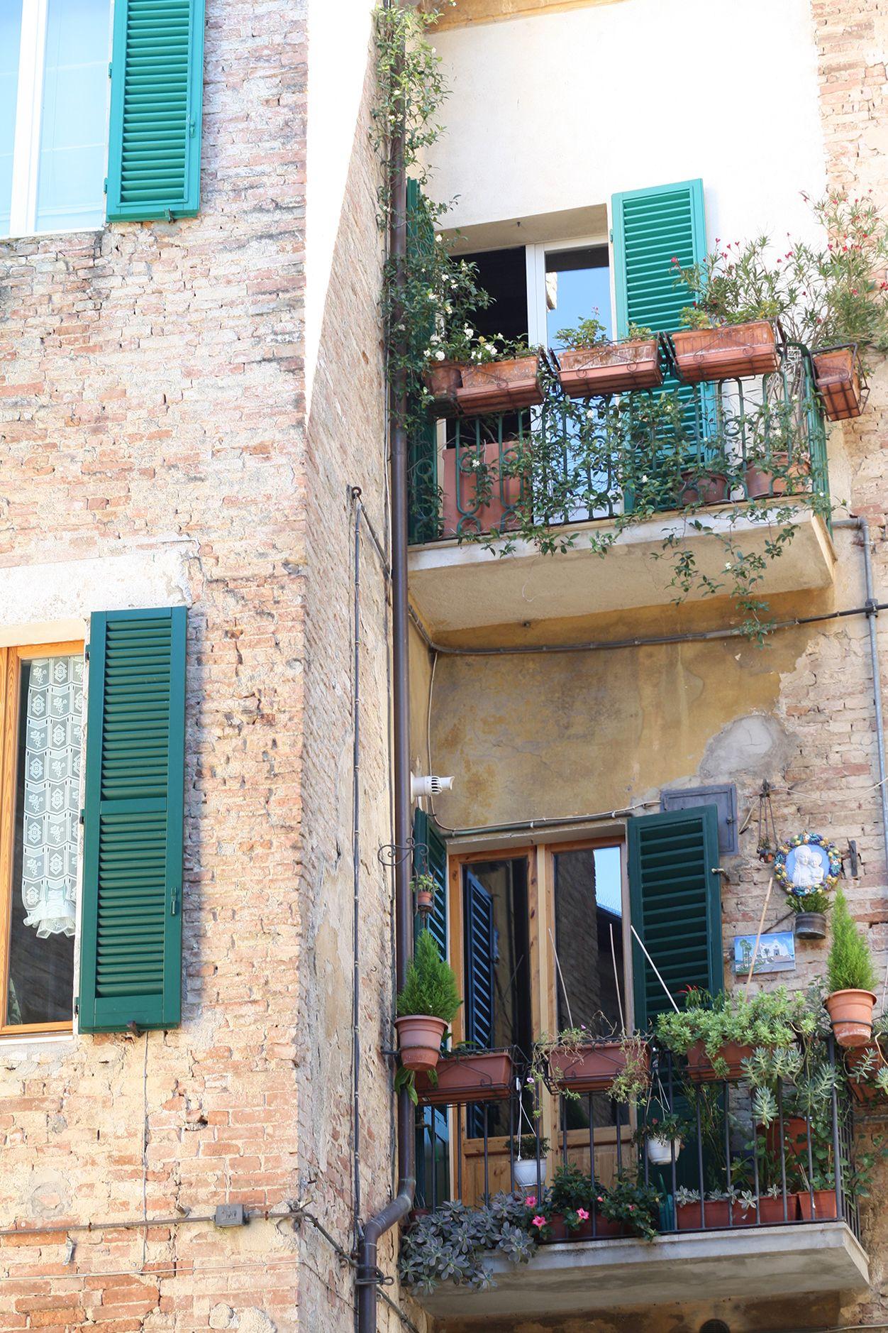 Pretty balconies in Siena, Tuscany