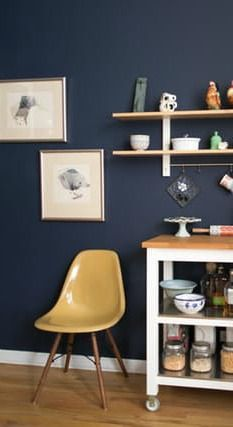 The Best Paint Colors 10 Behr Dramatic Darks Honey Oak Cabinets Blue Kitchen Walls Painting Oak Cabinets