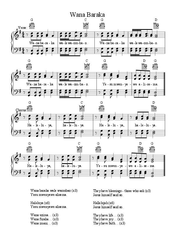 Wana Baraka (Swahili Hymn) | Giesmes | Pinterest | Sheet music pdf ...