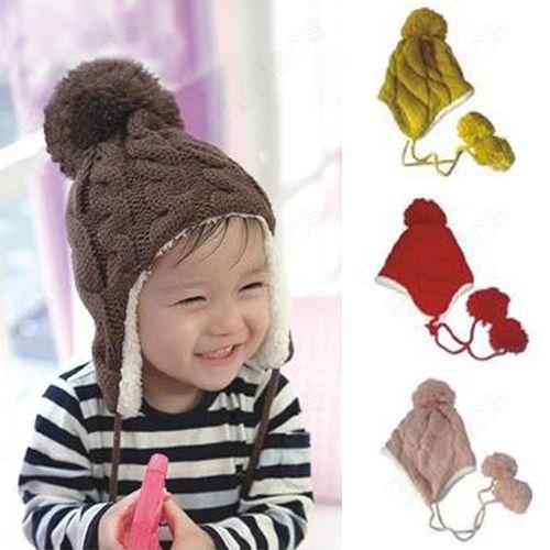 e6c98e3f2b2 Discount China china wholesale Cute Baby Boys Girls Warm Winter Crochet Ball  Ear Flap Knit Beanie Hat Cap 6-36months  6550  - US 5.61   DealsChic