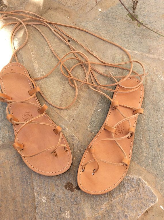 89d7ca200ea6a5 Leather tie up Gladiator sandals Lace up Sandals by madammeshushu ...