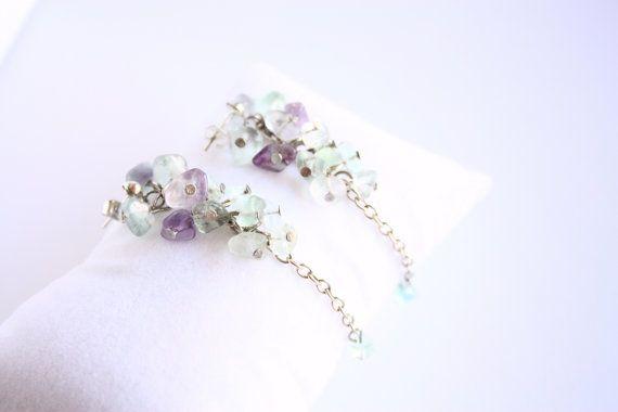 Fluorite earrings Nickel free silver tone studs by AnniesBijoux, $15.00