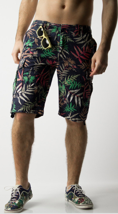 eefac5d183 Floral Cargo shorts from Waiquiri, a tropical look with these cotton multi  colored palm leaf and floral print shorts for men. | www.differio.com