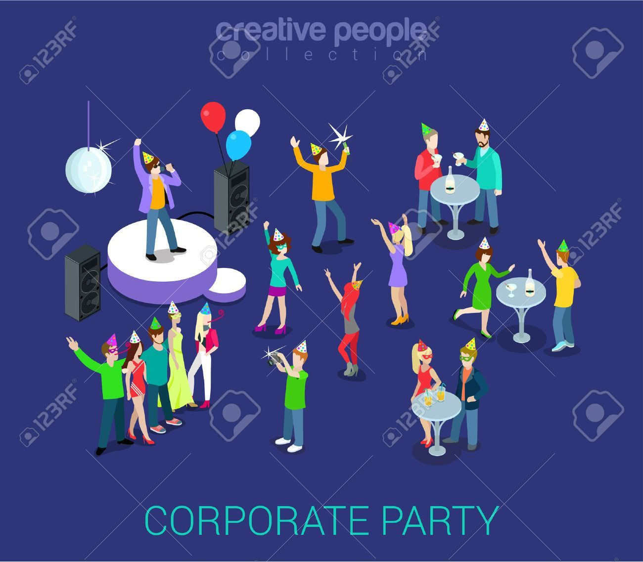 Corporate party holiday event team building flat 3d web