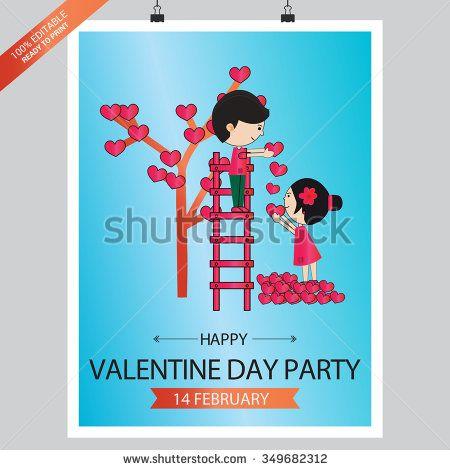 Valentines Day Poster Design Blue background - stock vector Design