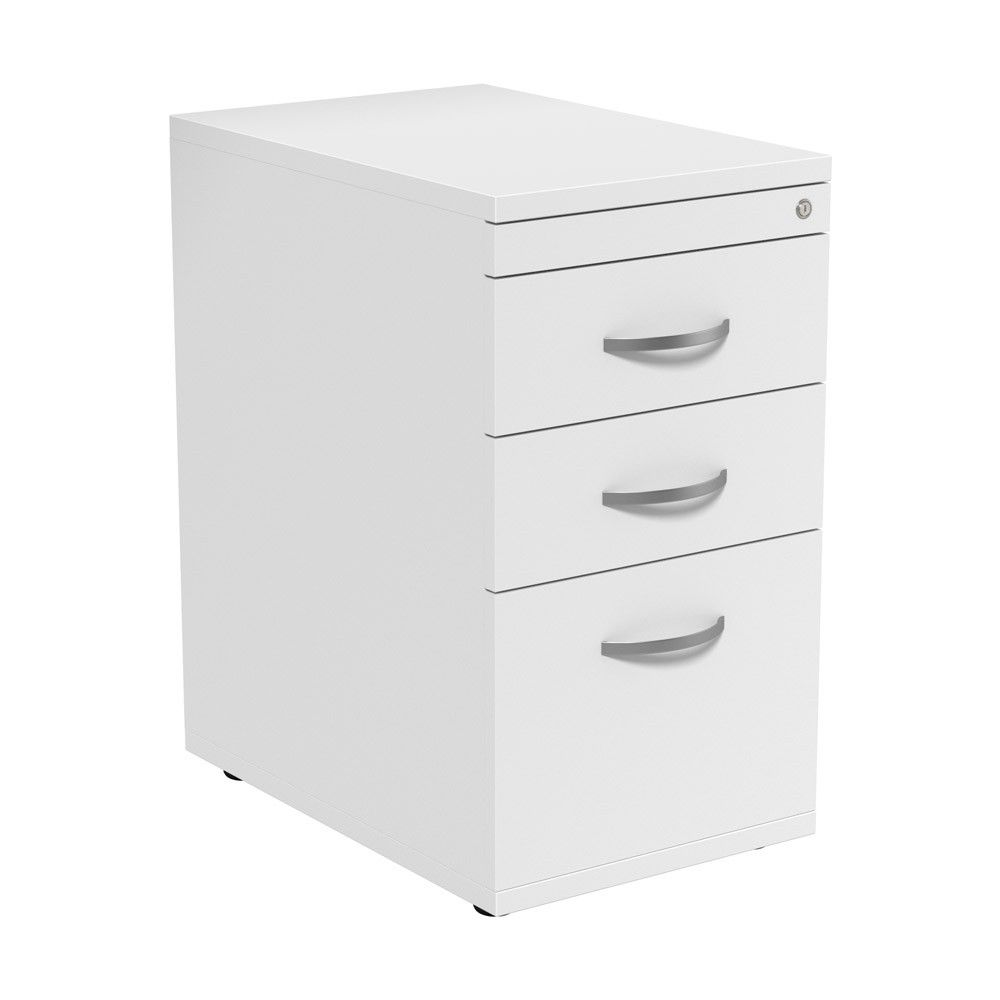 White 3 Drawer Pedestal Desk High NEXT DAY DELIVERY With the