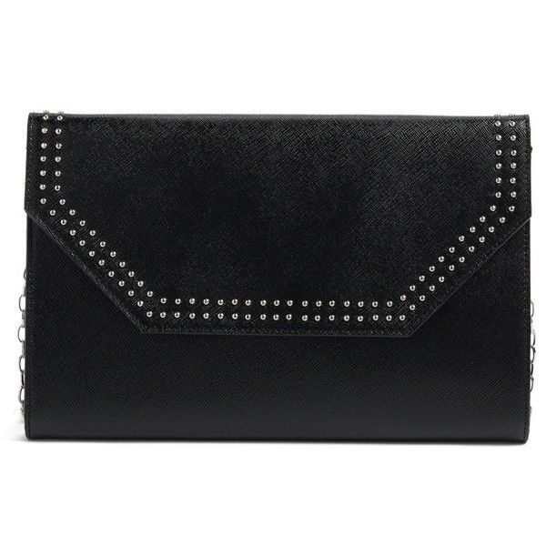 Women's Halogen 'Angle' Studded Leather Convertible Clutch (25.325 HUF) ❤ liked on Polyvore featuring bags, handbags, clutches, black, real leather handbags, chain strap handbag, leather crossbody, crossbody purse and genuine leather purse