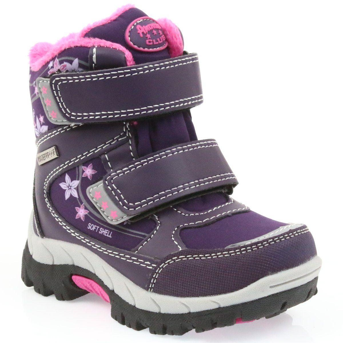 American Club American Kozaki Buty Zimowe Z Membrana 3121 Fioletowe Boots Shoes Winter Boot
