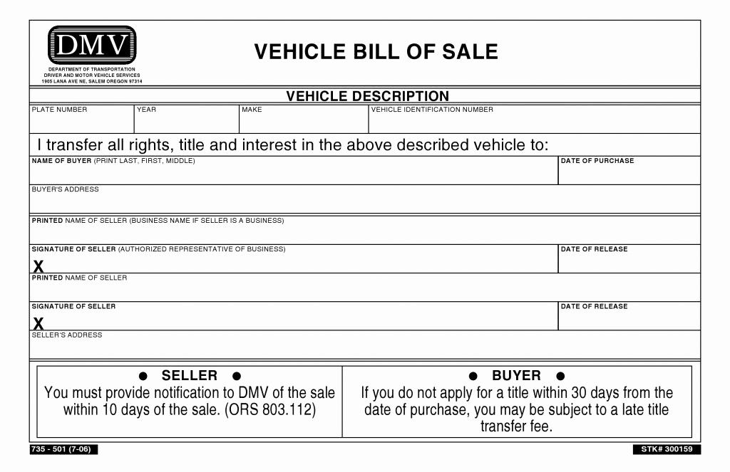Bill Of Sale Form Automobile Best Of Free Oregon Vehicle Bill Of Sale Pdf Word Bill Of Sale Template Sales Template Bills