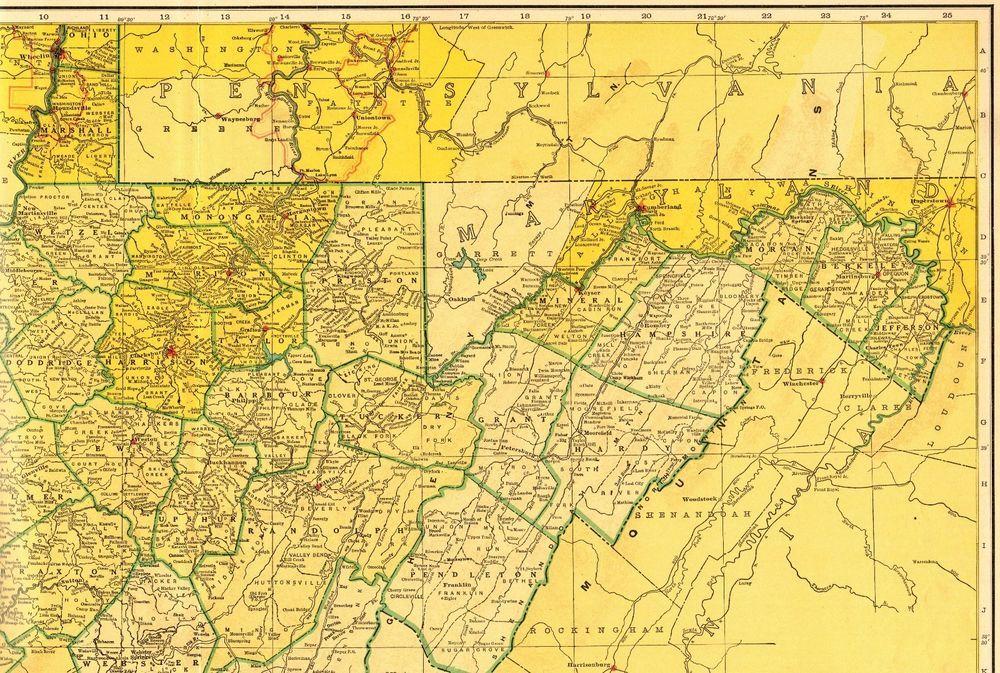 1950 Vintage WEST VIRGINIA Map RAILROADS Antique Map RARE ...