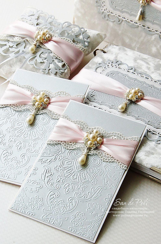 Luxury Gray And Pink Lace Vintage Custom Wedding Monogram Embossed