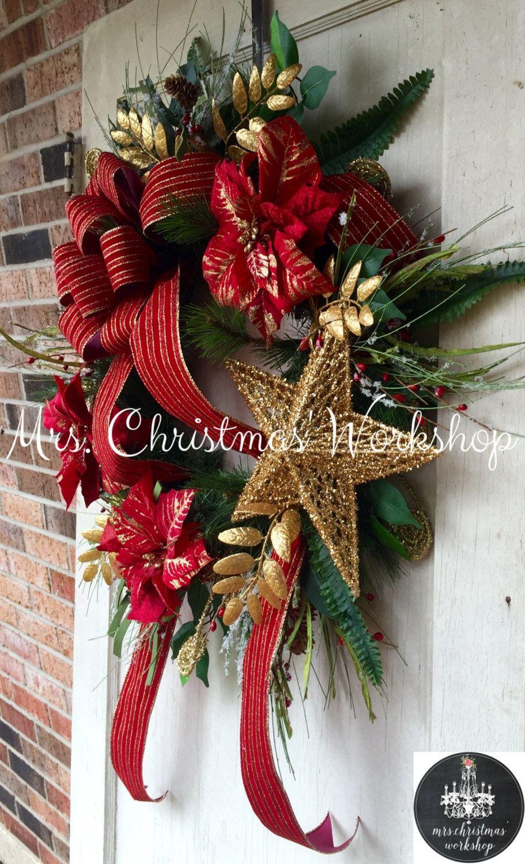 Couronne De Porte Noel Design noël couronne rouge et or pin à feuilles persistantes de