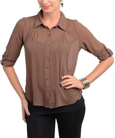 Take a look at this Brown Tab-Sleeve Button-Up by Buy in America on #zulily today!