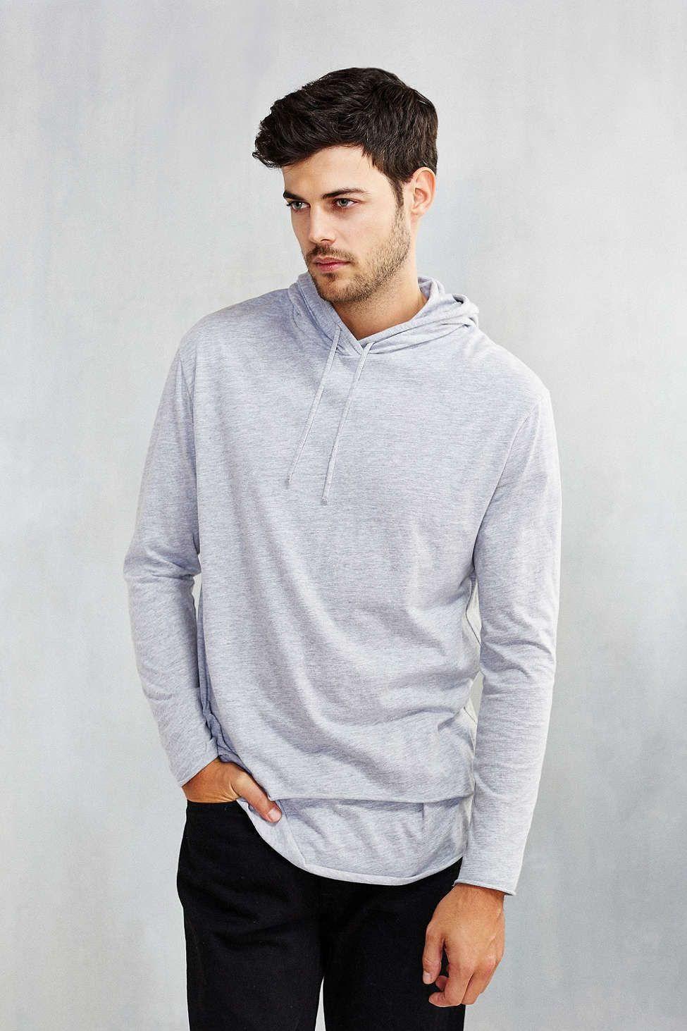 Double Layer Hoodie Sweatshirt Layered Hoodie Long Sleeve Tshirt Men Sweatshirts Hoodie [ 1463 x 975 Pixel ]