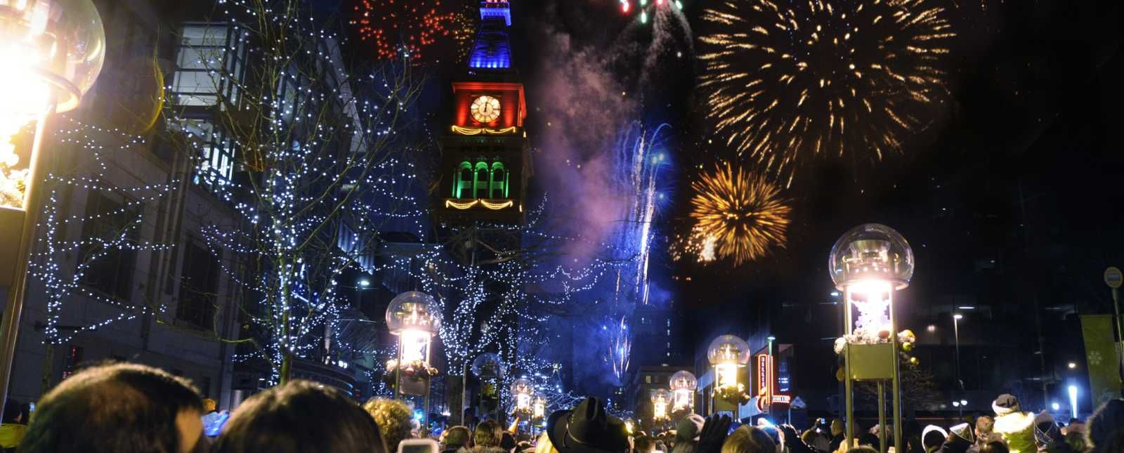 New Year'sEeve firework show in downtown Denver. newyear