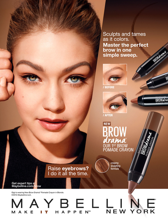 Maybelline Cosmetic Advertising Brown Drama with Gigi ... Maybelline Foundation Ad