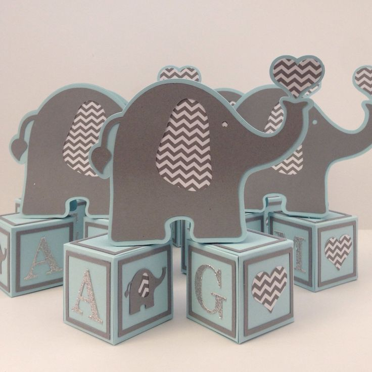 Elephant Baby Shower Centerpieces, Table Decorations, Elephant On Alphabet  Blocks