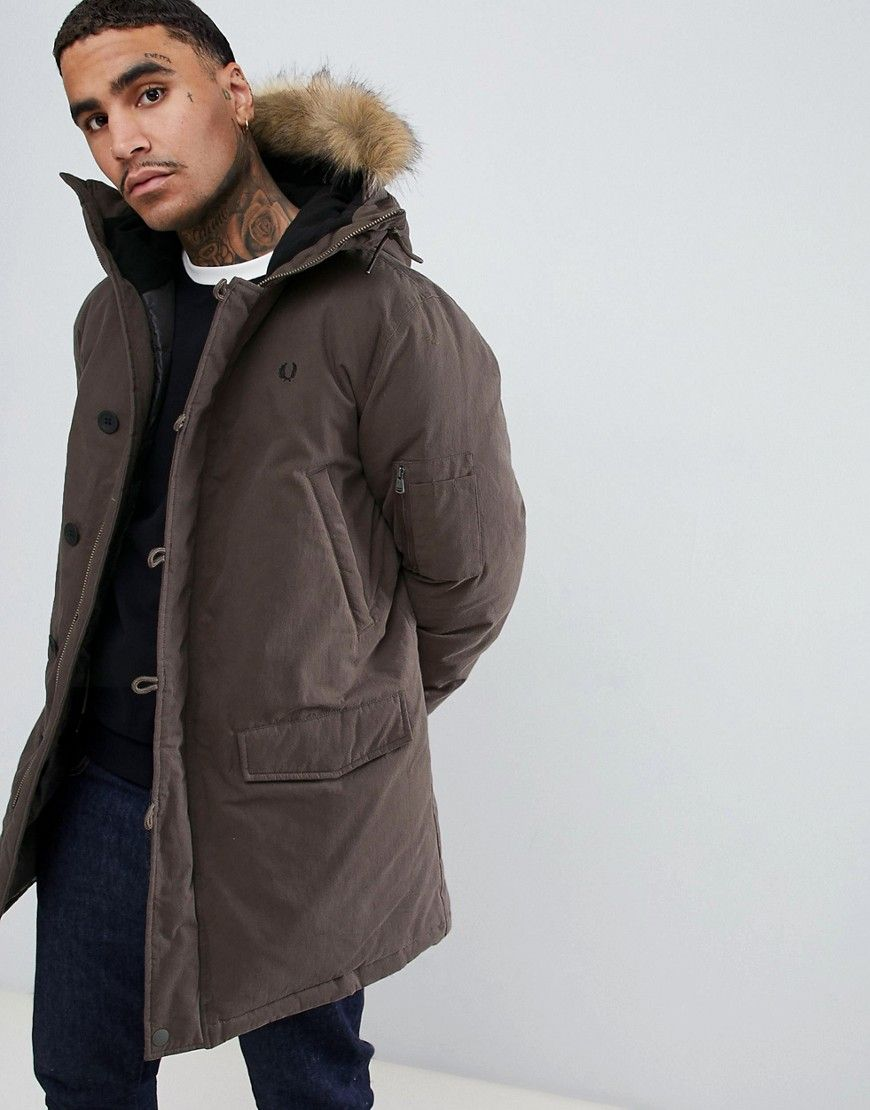 769fa483e0 FRED PERRY PADDED DOWN SNORKEL PARKA JACKET WITH FAUX FUR TRIM IN DARK  GREEN - GREEN. #fredperry #cloth