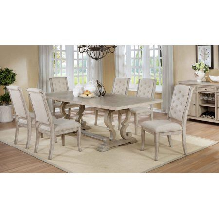 Best Master Furniture Brenda Natural 7 Pcs Rectangle Dining Table